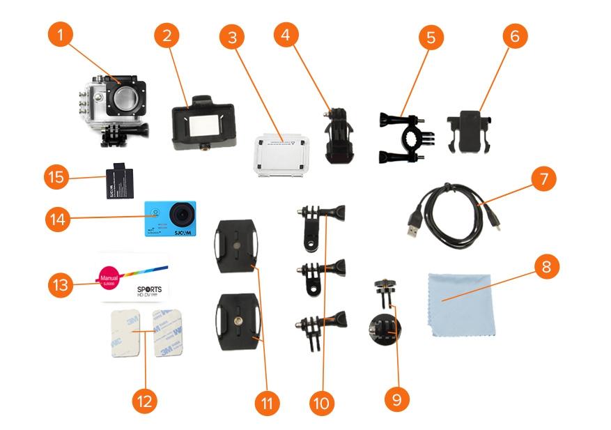 Комплектация экшн-камеры SJ5000